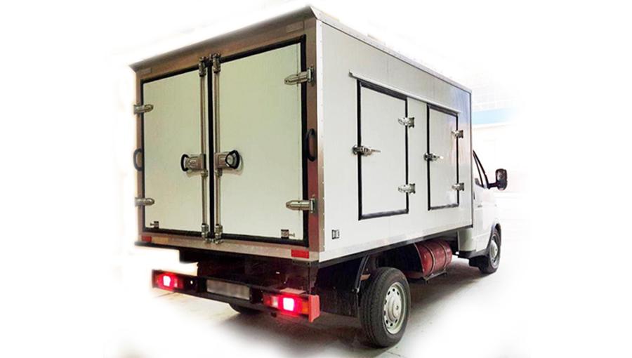 Совутгичли қурилмалари билан жиҳозланган кўп қисмли изотермик фургонлар музлатилган озиқ-овқат маҳсулотларни  шаҳар ичида  махсулотни тарқатилишига мўлжалланган, изотермик фургонинг ишлаш муддати 8-12 соатни ташкил этади. Ҳарорат ҳолати (-25 / -35 ° S). Автомобил ҳаракати даврида совутиш мосламасини заряд олинмаслиги туфайли, совуқни йўқотишни камайтириш учун автомобиль кузовига алоҳида талаблар қўилади