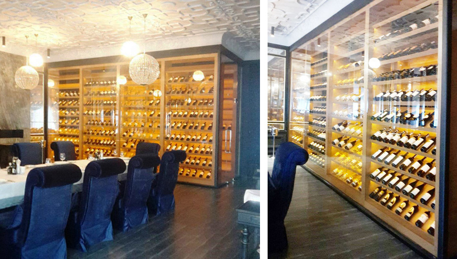 Demonstration wine cooler. Designed for storage and display of wine and vodka products. Storage temperature