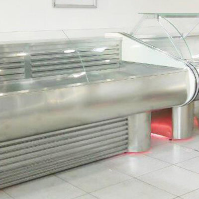 Refrigerated display case for meat products. Made of stainless steel, temperature range 0 / + 5 ° С.