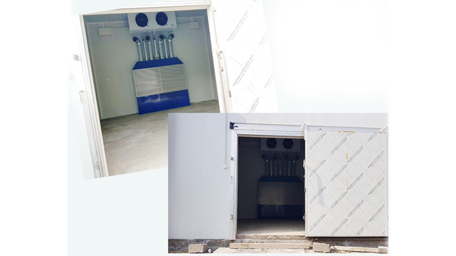 Vegetable storage with triple air exchange for storing potatoes.