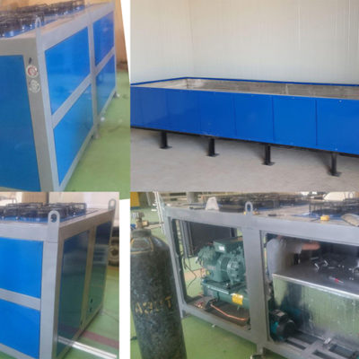 Hydraulic tank and cooling unit for freezing ice. Object city of Termez